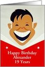 Happy Birthday19 Years, A happy face Customizable Card