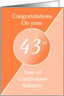 Congratulations 43 Years of continuous sobriety. Light and dark orange card