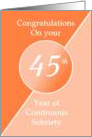 Congratulations 45 Years of continuous sobriety. Light and dark orange card
