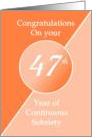 Congratulations 47 Years of continuous sobriety. Light and dark orange card