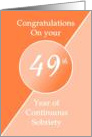 Congratulations 49 Years of continuous sobriety. Light and dark orange card