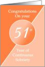Congratulations 51 Years of continuous sobriety. Light and dark orange card