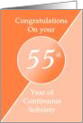 Congratulations 55 Years of continuous sobriety. Light and dark orange card