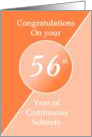 Congratulations 56 Years of continuous sobriety. Light and dark orange card