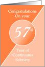 Congratulations 57 Years of continuous sobriety. Light and dark orange card