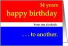34 YEARS, Happy Birthday red white blue card