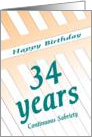 34 Years Happy Sobriety Birthday card