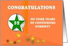 52 Years Continuous Sobriety Falling leaves card