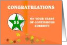 55 Years Continuous Sobriety Falling leaves card