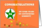 56 Years Continuous Sobriety Falling leaves card
