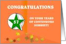 57 Years Continuous Sobriety Falling leaves card