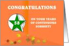 58 Years Continuous Sobriety Falling leaves card