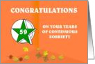 59 Years Continuous Sobriety Falling leaves card