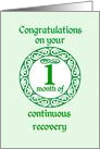 1 Month Anniversary, Green on Mint Green with a prominent number card