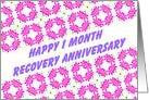1 Month Happy Recovery Anniversary wish on a field of pink flowers card