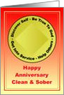Congratulations, Happy Anniversary, Medallion, Clean, Sober card
