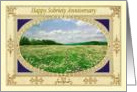 Happy Sobriety Anniversary. Field of flowers, card