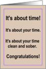 Happy Anniversary, clean and sober, card