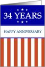 34 YEARS. Happy Anniversary, Red White and Blue with Stars, card