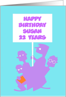Happy Birthday 22 Years, children with a banner Customizable Card