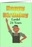 Happy Birthday 24 Years Happy man waving Customizable Card