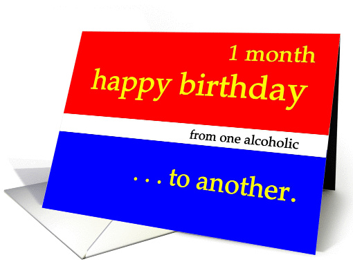 Happy 1 Month Happy Birthday red white blue card (979115)