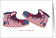 Happy Birthday - Girl - 4th of July - Canvas Stars and Stripes Shoes card