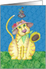 The Gardeners Cat Bird and Worm Painting Card