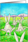 Hippity Hoppity Easter Bunnies Hopping in the Grass card