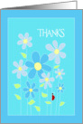 Blue Flowers Thank You Card