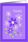 Purple Flowers Thank You Card
