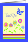 Thank You Greeting Card with Flowers and Butterfly card