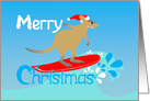 Wallaby surfing a Christmas wave card