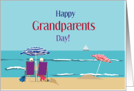 Grandparents Day, Couple on Beach, Umbrellas card