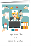 Happy Nurses Day Special Co-worker, Multitasking Female Nurse card
