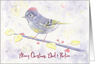 Merry Christmas, Dad and Partner, Ruby Crowned Kinglet with Holly card