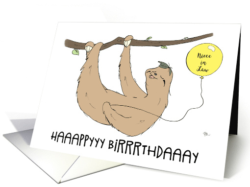 Happy Birthday Niece in Law, Humorous Slow Sloth Holding... (1611210)