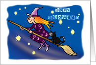 Happy Halloween-witch on broomstick card