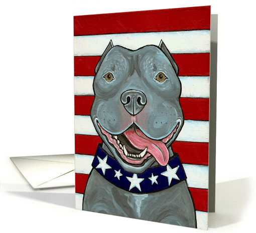 American Blue Nose Pit Bull Dog US Flag 4th of July card (931154)