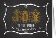 Joy to the World Gold Chalkboard card