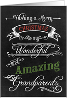 Chalkboard Merry Christmas to my Wonderful Amazing Grandparents card