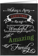 Chalkboard Merry Christmas to my Wonderful Amazing Family card