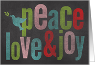 Chalkboard Colorful Peace love and Joy card