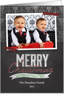 Chalkboard Merry Christmas Happy New Year Photo card
