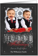 Chalkboard Happy Holidays from Our Family to Yours Photo card