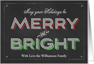 Chalkboard Holidays Be Merry and Bright card