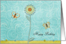 Floral Happy Birthday Butterflies card