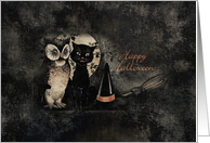 Happy Halloween Owl and Cat card