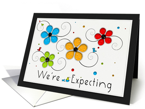 We're Expecting, Floral Birds card (959827)