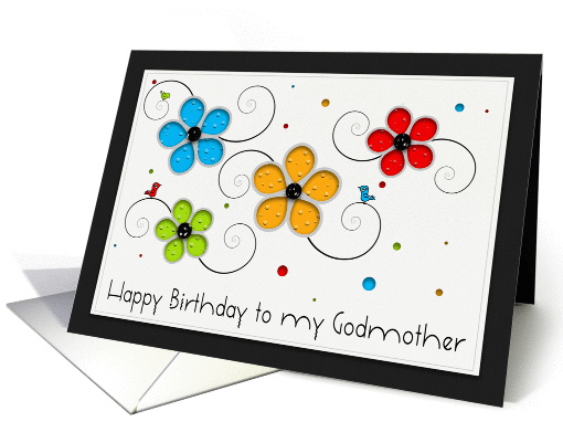 Happy Birthday to my Godmother Floral Cut out card (960307)